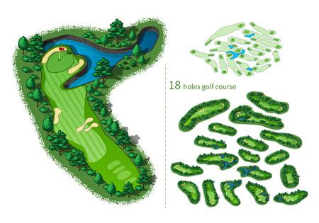 Campo de golf de 18 hoyos mapa. distribución del complejo con banderas árboles plantas obstáculos de agua. Ilustración de la correspondencia isométrica Foto de archivo - 52487388