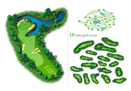 hazards: Golf course map 18 holes. Resort layout with flags trees plants water hazards. map isometric illustration