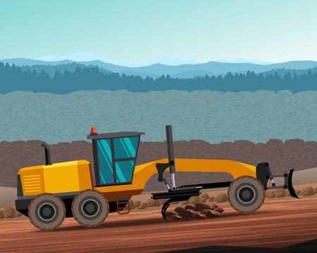 grader: Classic motor grader at work. Side view grader. color illustration