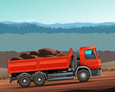 heavy duty: Lorry side view color illustration. Red dumper truck. Easy to recolor cab, tire and parts Illustration