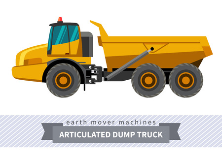earth mover: Articulated dump truck. Heavy equipment vehicle isolated color vector illustration.