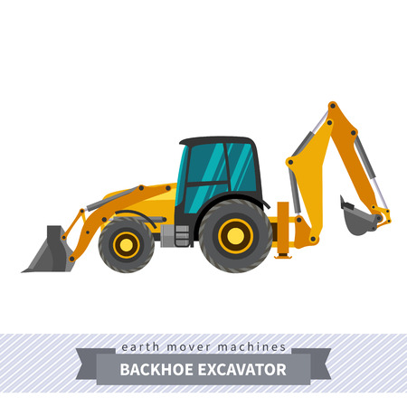 heavy equipment: Backhoe excavator. Heavy equipment vehicle isolated color vector illustration. Illustration