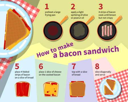 food preparation: Cooking infographics. Step by step recipe infographic for making bacon sandwich. Vector illustration