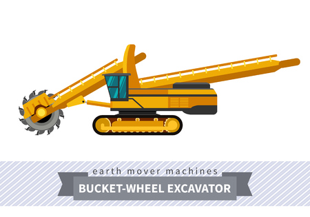 heavy equipment: Bucket wheel excavator. Heavy equipment vehicle isolated color vector illustration. Illustration