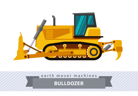 Bulldozer. Heavy equipment vehicle isolated color vector illustration.