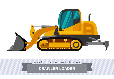 heavy equipment: Crawler loader. Heavy equipment vehicle isolated color vector illustration.