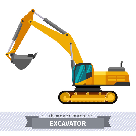 earth mover: Excavator. Heavy equipment vehicle isolated color vector illustration. Illustration