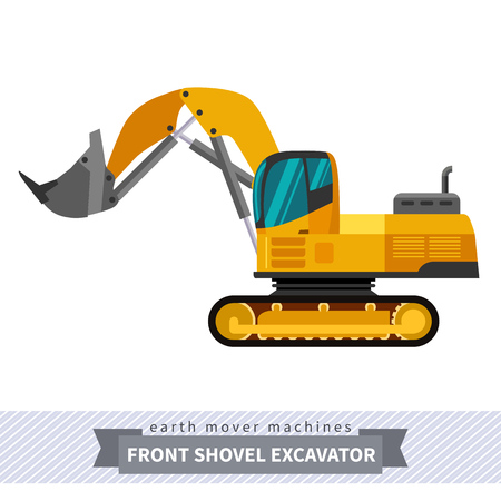 crawler tractor: Front shovel excavator. Heavy equipment vehicle isolated color vector illustration.