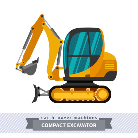 earth mover: Mini excavator. Heavy equipment vehicle isolated color vector illustration.