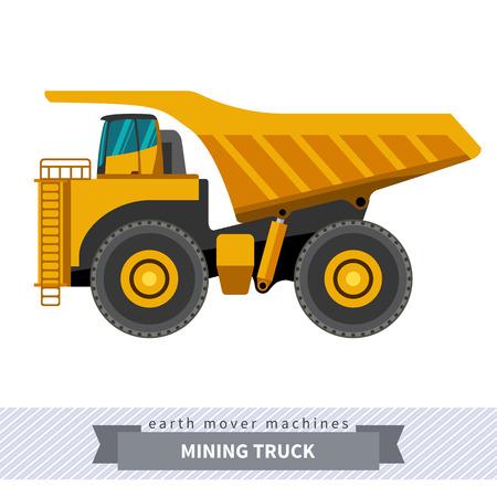Mijnbouw vrachtwagen. Zwaar materieel geïsoleerd voertuig kleur vector illustratie.