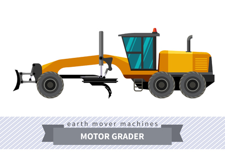 crawler tractor: Motor grader. Heavy equipment vehicle isolated color vector illustration.