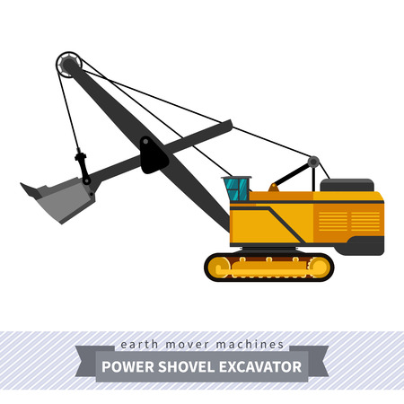 heavy equipment: Power shovel excavator. Heavy equipment vehicle isolated color vector illustration. Illustration