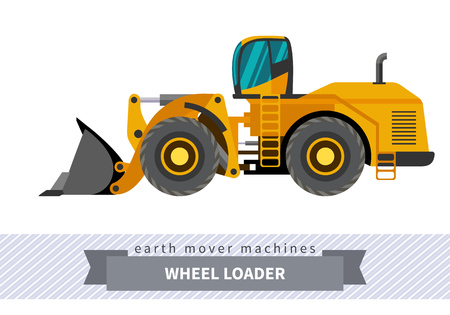 earth mover: Wheel loader classic. Heavy equipment vehicle isolated color vector illustration.