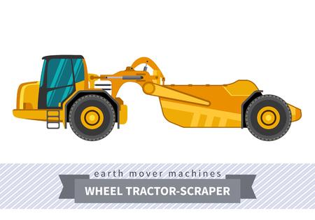 Wheel tractor-scraper. Heavy equipment vehicle isolated color vector illustration.