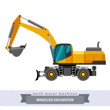 heavy equipment: Wheeled excavator. Heavy equipment vehicle isolated color vector illustration.