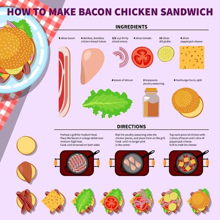 kitchen cartoon: infograf�a de cocina. Paso a paso infograf�a receta para hacer s�ndwich de tocino pollo. ilustraci�n vectorial