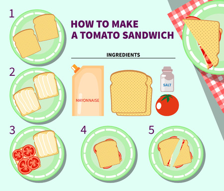 cocina caricatura: infograf�a de cocina. Paso a paso infograf�a receta para hacer un s�ndwich de tomate. ilustraci�n vectorial