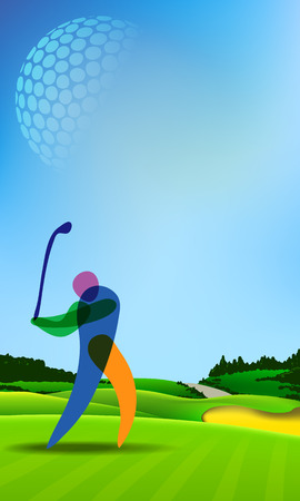 putting green: Golf player playing golf. Banner vector green tee background illustration