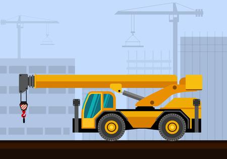 Bas cabine rugueuse grue industrielle du terrain avec la construction de fond. Vue latérale vecteur grue illustration