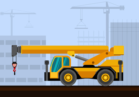 auto hoist: Down cab rough terrain industrial crane with construction background. Side view crane vector illustration Illustration