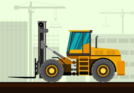 auto hoist: Forklift loader industrial crane with construction background. Side view crane vector illustration Illustration