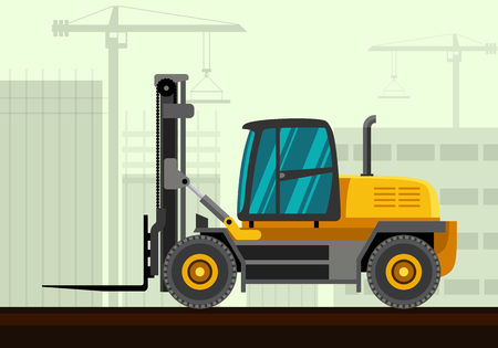 haulage: Heavy forklift industrial crane with construction background. Side view crane vector illustration