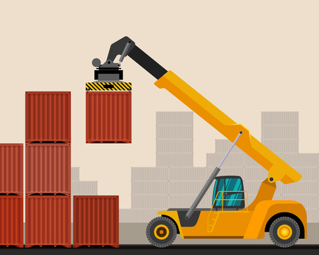 Reach stacker with container industrial crane with construction background. Side view crane vector illustration Ilustração