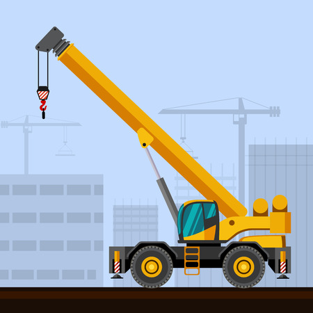 Rough terrain industrial crane with construction background. Side view crane vector illustration Illustration