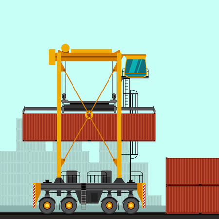 Straddle carrier with container industrial crane. Side view crane vector illustration Vettoriali