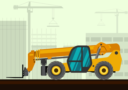 telescopic: Telescopic handler with fork industrial crane with construction background. Side view crane vector illustration Illustration