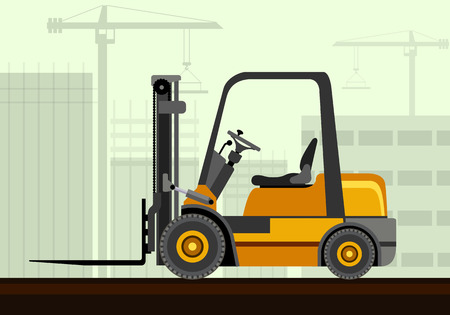 Compact forklift industrial crane with construction background. Side view crane vector illustration