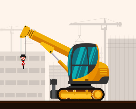 mini loader: Crawler telescopic boom mini crane with construction background. Side view mobile compact crane vector illustration