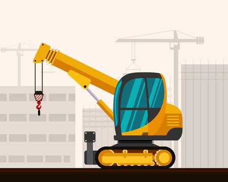 crawler: Crawler telescopic boom mini crane with construction background. Side view mobile compact crane vector illustration
