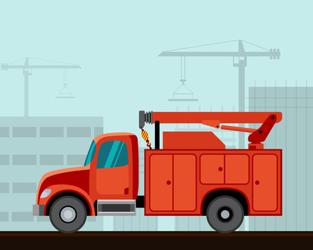 side view: Service truck crane. Side view vector illustration.