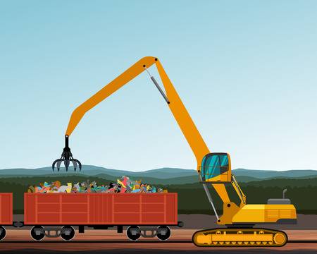 handler: Material handler crane crawler machine with peel grab attachment. Vector illustration background