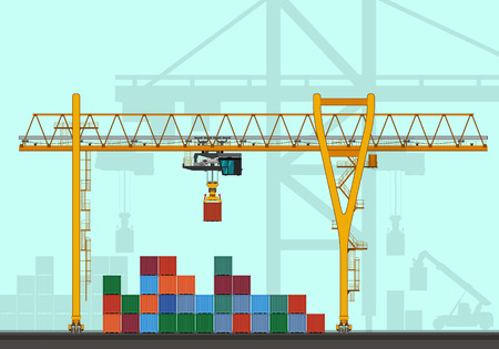 conveyance: Gantry crane with containers. Rail mounted crane at container terminal vector illustration