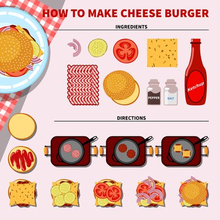 ground beef: Cooking infographics. Step by step recipe infographic for making cheese burger. Vector illustration