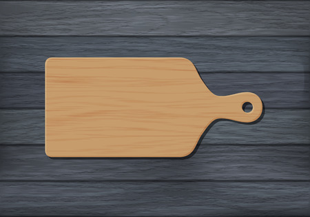 Cutting board on wooden background. Vector color illustration Ilustracja
