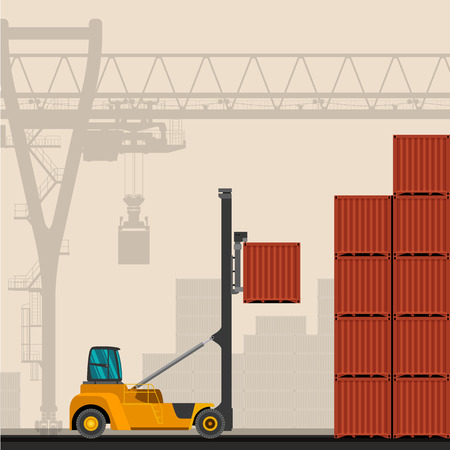 lift truck: Empty container lift truck with container industrial crane with construction background. Side view crane vector illustration