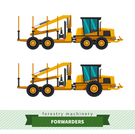 skidding: Forwarder forestry vehicle vector isolated illustration Illustration