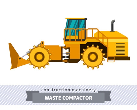 Landfill waste compactor side view. Waste industry vehicle isolated color vector illustration