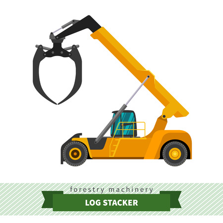 skidding: Log stacker forestry vehicle vector isolated illustration Illustration