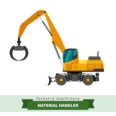 logging truck: Material handler forestry vehicle vector isolated illustration Illustration