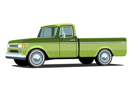 pickup truck: Pickup truck. Classic truck. Isolated vector illustration