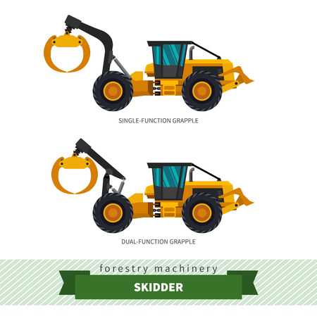 skidding: Grapple skidder forestry vehicle vector isolated illustration