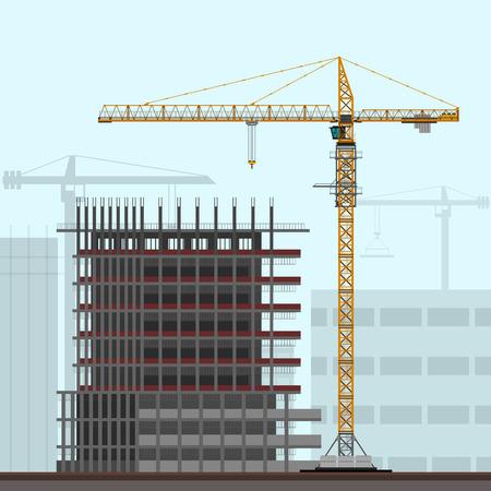 grúa torre en el fondo emplazamiento de la obra. Vector ilustración de color