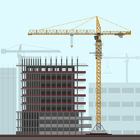 tower crane: Tower crane on construction site background. Vector color illustration