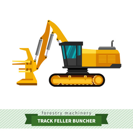 skidding: Track feller buncher vector isolated illustration