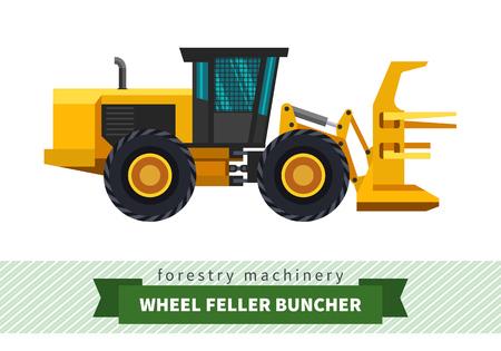 skidding: Wheel feller buncher vector isolated illustration