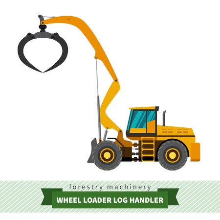 skidding: Log handler forestry vehicle vector isolated illustration